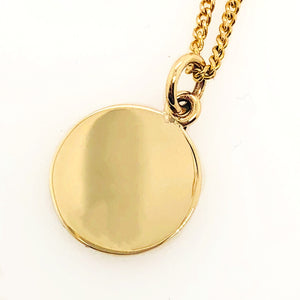 Personalised Handmade 9ct Gold Disc Pendant