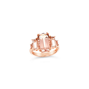 Step Cut Emerald Morganite Ring