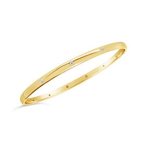 9ct Yellow Gold and Diamond Bangle