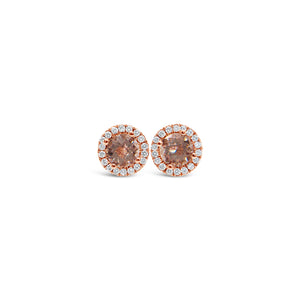 Rose Gold Morganite and Diamond Studs