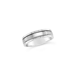 Gents 9ct White Gold Faceted Wedding Band