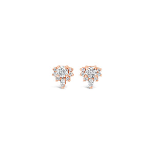 Moissanite and Diamond Cluster Earrings