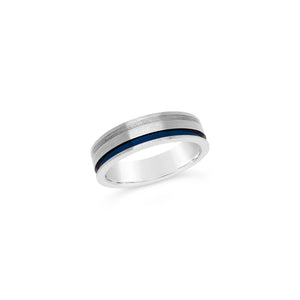 Gents Titanium Blue Grooved Sterling Wedding Band
