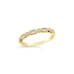 Baguette and Brilliant Cut Diamond Band - Richard James Jeweller