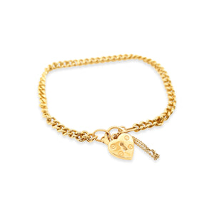 Yellow Gold Curb Bracelet and Locket
