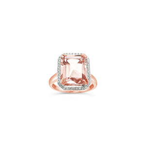 Emerald Morganite and Diamond Ring