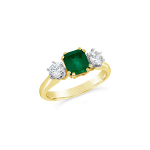 Natural Emerald and Diamond Three Stone Ring