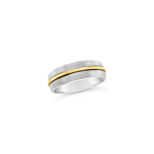 Gents 9ct Yellow and White Wedding Band