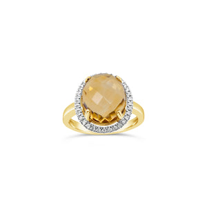 9ct Yellow Gold Citrine and Diamond Ring