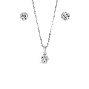 White Gold Diamond Pendant and Earring Set