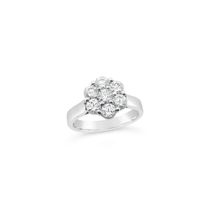 Platinum Moissanite Cluster Ring