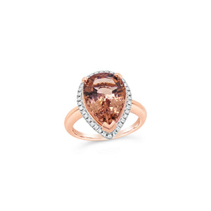 Rose Gold Pear Morganite and Diamond Ring