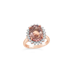 Rose Gold Oval Morganite and Diamond Ring