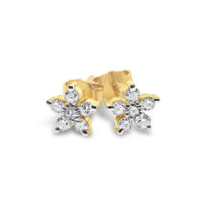 9ct Yellow Gold Diamond Flower Studs