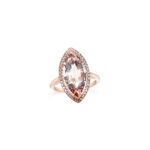 Marquise Morganite and Diamond Ring