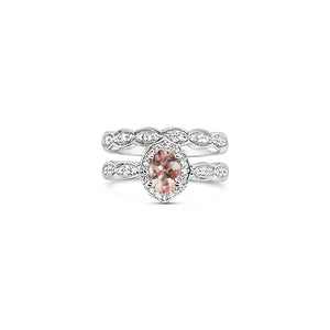 Platinum Morganite and Diamond Bridal Set