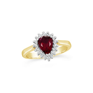 Natural Ruby and Diamond Halo Ring