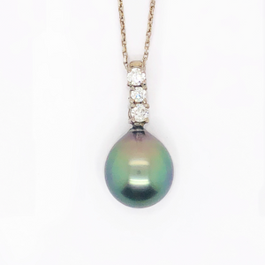 Tahitian Black Pearl and Diamond Necklace
