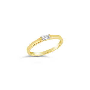 Yellow Gold Diamond Baguette Stacker Ring