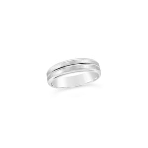 Gents 9ct White Gold Grooved Wedding Band