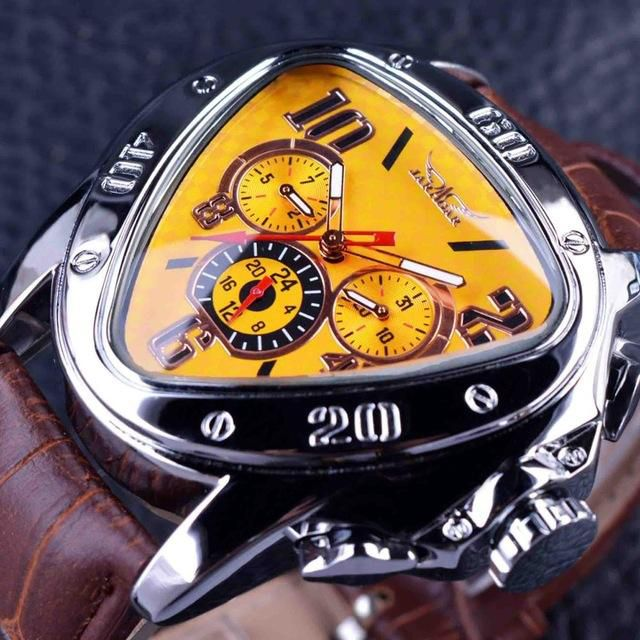 Sport Racing Geometric Triangle Design Leather Strap Mens Watches Automatic Wrist Watch