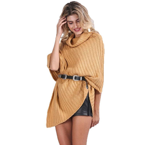 Autumn knitted turtleneck pullovers poncho sweater women Vintage khaki sweater