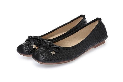 Women's Genuine Leather Bow Soft Bottom Flat Shoes For Women Black Big Size