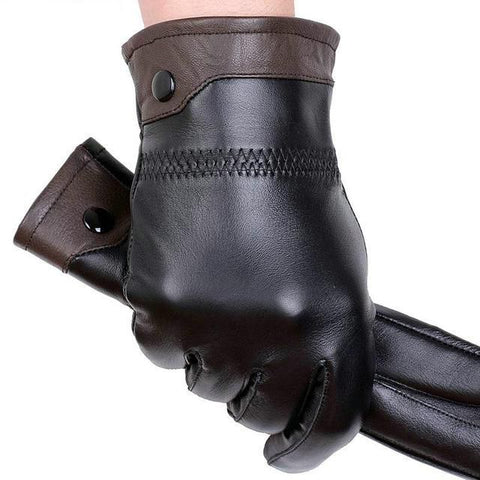 Genuine leather gloves male sheepskin gloves winter fashion thick thermal