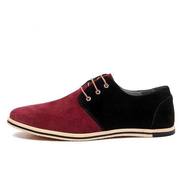 Mixed Colors Real Suede Leather Men Casual Shoes Flat Oxford Shoes