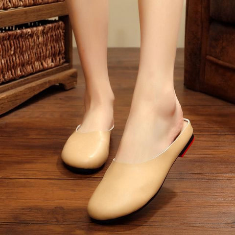 Leather Slippers Female Original Retro Art Handmade Shoes Round Top Women's Flats