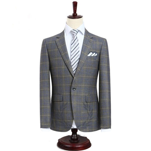 Mens Suit terno Slim Fit Casual one button Fashion Grid Blazer Side Vent Jacket