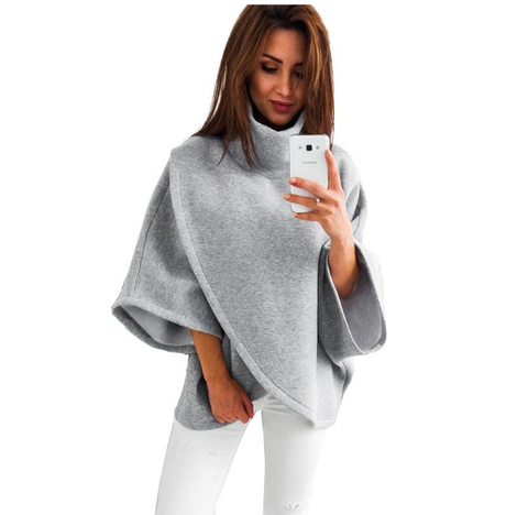 Elegant Gray Turtleneck Irregular Blouse Womens 3/4 Sleeve Casual Loose