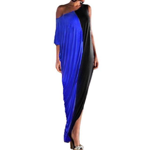 Women Batwing Single Shoulder Sexy Party Dresses Casual Loose Long Maxi Dress Plus Size