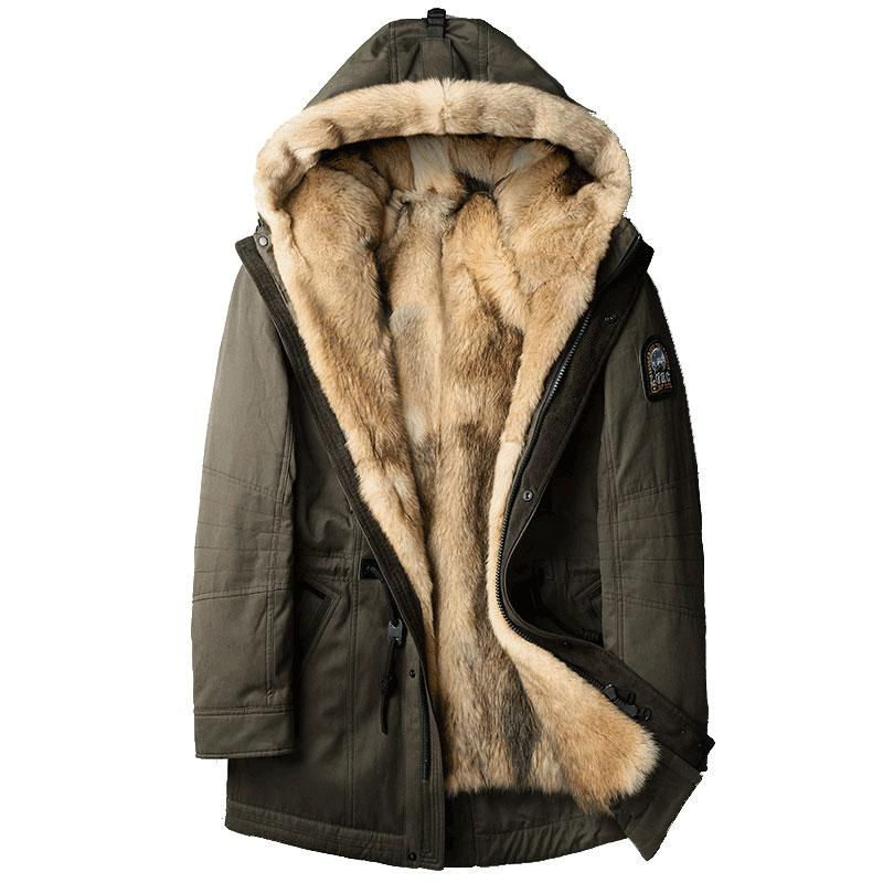 Wolf fur for men Thick jackets long coats
