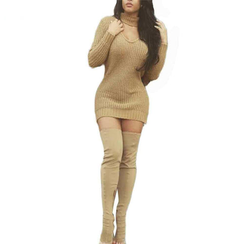 Women Long Sleeve Sexy Party Khaki Knitted Dress
