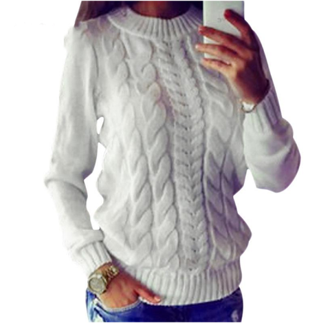 Women Winter  solid round long sleeve thick women knitted sweaters pullovers