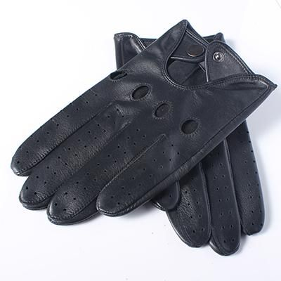 Men's Genuine Leather Gloves High Quality Fashion Black Driving Unlined Goatskin Finger Gloves