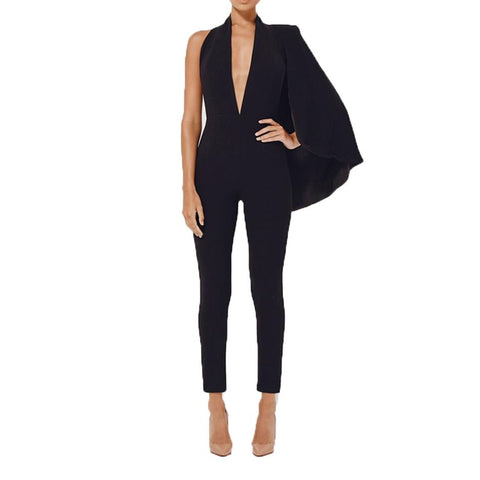 Celebrity Runway Jumpsuit Black Deep V-Neck Halter half Batwing Sleeve Romper
