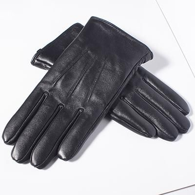 Gours Men's Genuine Leather Gloves Real Sheepskin Black Touch Screen Gloves