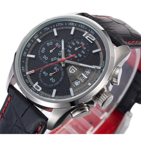 Mens Quartz Chronograph Watch Luxury Leather Military Wrist Watch