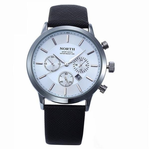 Mens Watches NORTH Brand Luxury Casual Military Quartz Sports Wristwatch Leather Strap