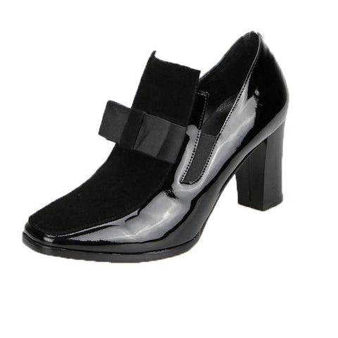 High heel pumps square toe leather shoes women ladies black Sexy
