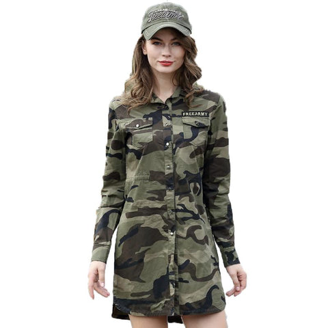 Camouflage Long Section Shirt Women Long Sleeve Clothing Top Quality Slim Fit Designer
