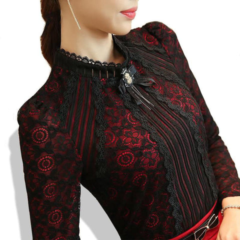 Autumn Winter Fashion Lace Blouse Long Sleeve Slim Body Floral Lace Shirt