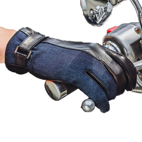 Men Sheepskin Gloves Fashion Patchwork Genuine Leather Driving Glove