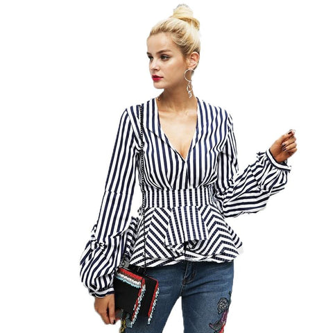 Ruffle v neck stripe blouse shirt casual street wear