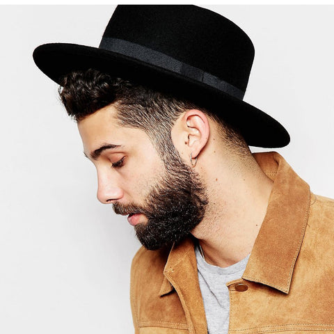 100% Wool Boater Flat Top Hat For Men's Women Winter Autumn Felt Wide Brim Fedora Hat Gentleman