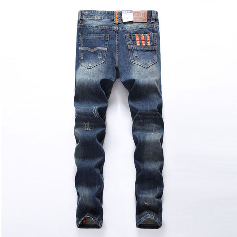 Men Jeans Straight Fit Ripped Jeans 100% Cotton Distressed Denim
