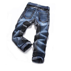Mens Stripe Denim Jeans casual biker slim Straight pants