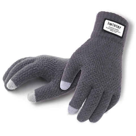 Winter Autumn Men Knitted Gloves Touch Screen High Quality Male Thicken Warm Wool Cashmere